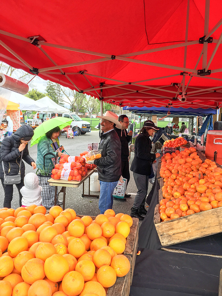 Vendor at Creekside Farmers Market with patrons buying fruit