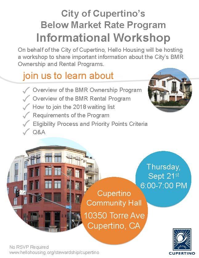 Text describing below market rate housing workshop