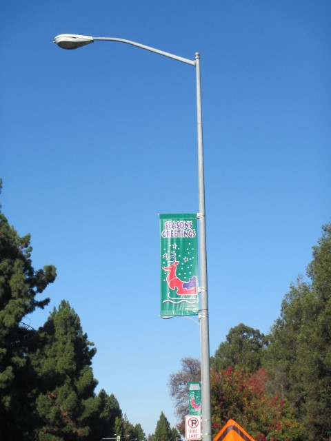 Holiday Banner on N. De Anza Blvd